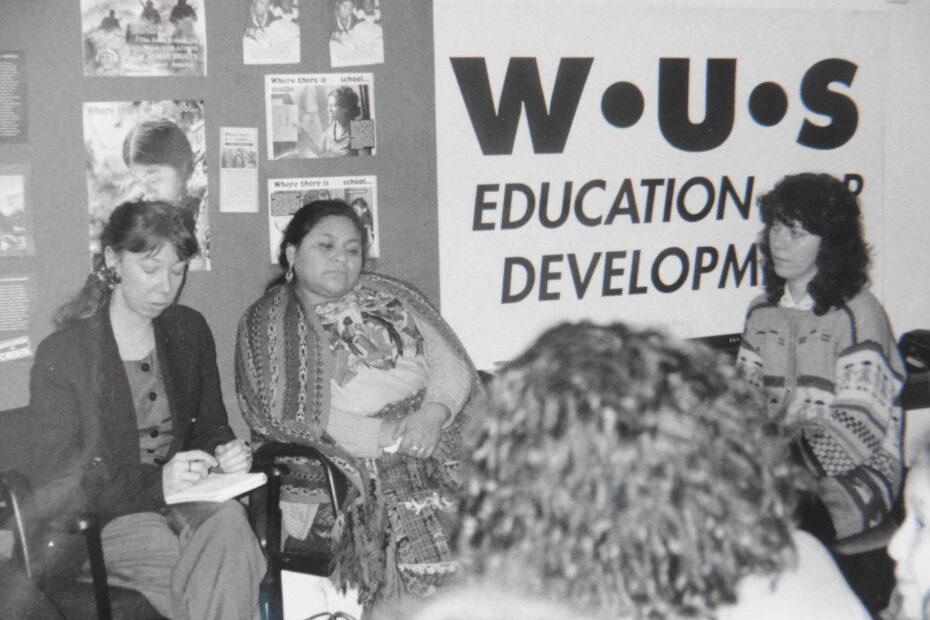 Rigoberta Menchu (Indigenous Nobel Laureat) centre with Marilyn Thomson WUS (UK) right
